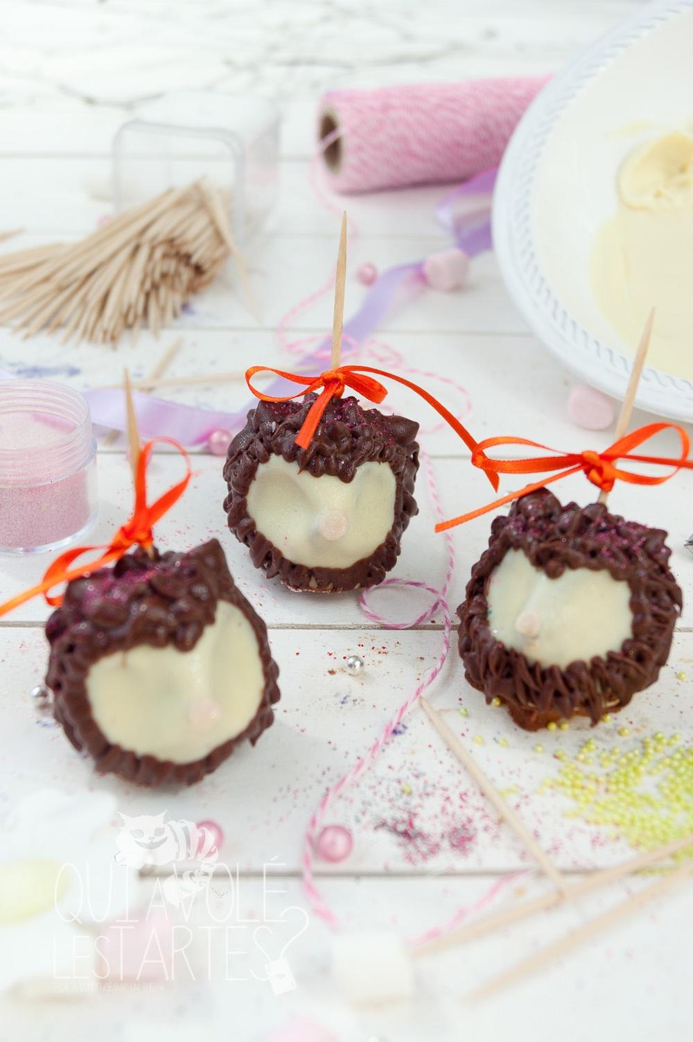 Gâteaux sucettes - Truffes hérisson - Studio de création - Qui a volé les tartes