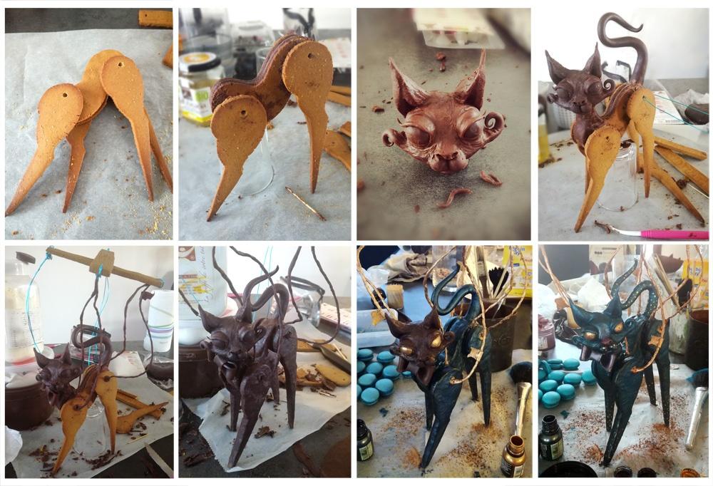 Montage du chat marionnette - Cloches Marshmallows - Studio de creation - Qui a vole les tartes