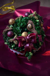 La couronne de Noël un peu flippante ©Photographie et stylisme culinaire Qui a volé les tartes ?